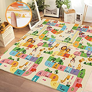 Kidsclub 0.6'' Foldable Baby Floor Mat Extra Thick, 77'' x 70'' Big Play Mat Extra Large Crawl Mat Reversible Soft XPE Foam Mat for Toddlers, Infants, Kids, Tummy Time Portable Baby Mat Waterproof