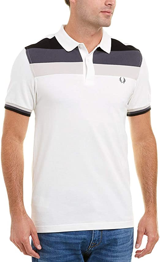 Fred Perry Hombres Camisa de Polo de Bloque de Color Blanco ...