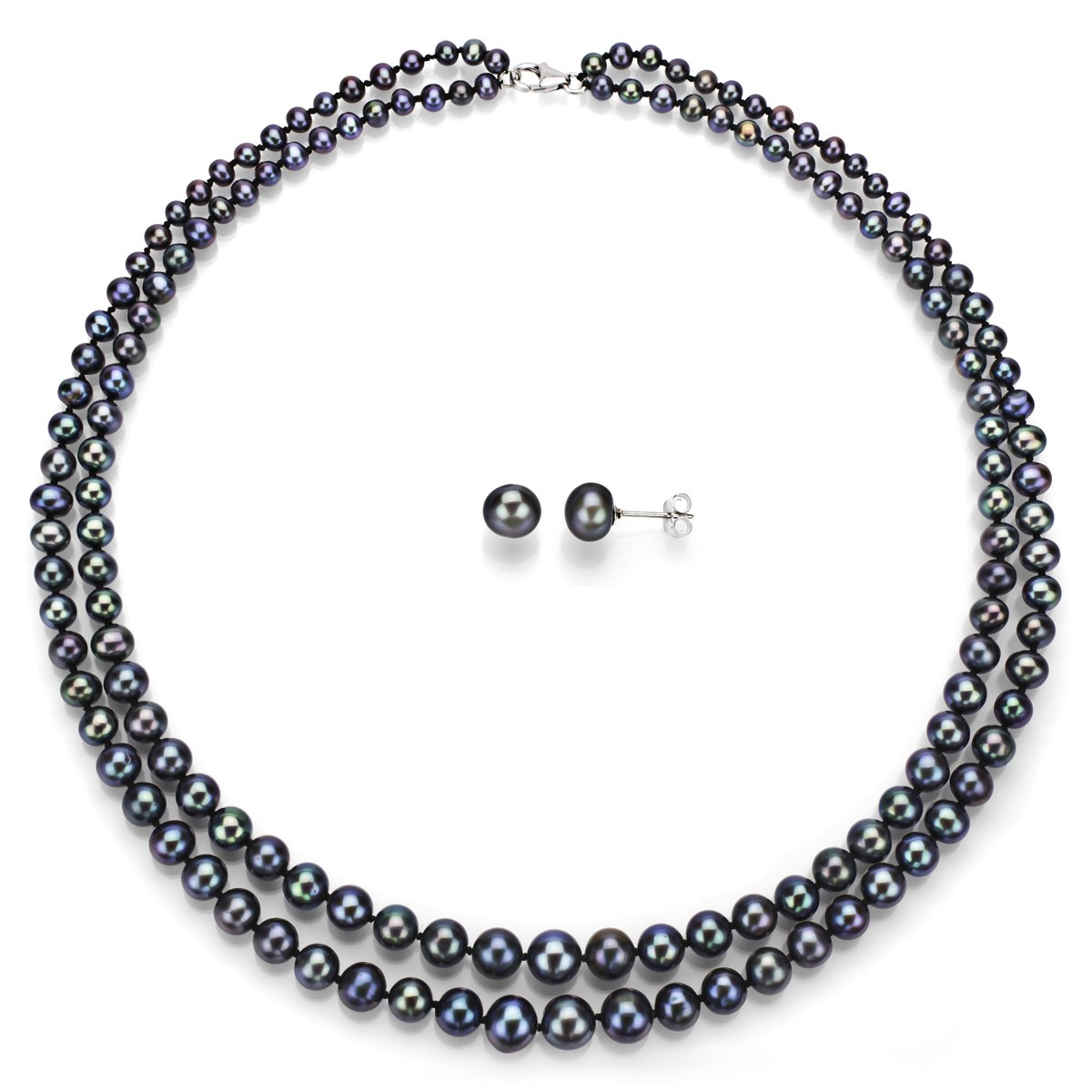 Sterling Silver Graduated 4-8.5mm 2rows Dyed-black Freshwater Cultured Pearl Necklace and Stud Earrings