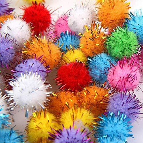 FidgetGear 100Pcs/bag Candy Colors Glitter Tinsel Pompom Balls Small Pom Ball Pet Cat Toys