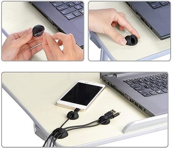 organizador de cables para casa y oficina Clips para cables sistema de gesti/ón de alambre negro//blanco organizador para la gesti/ón de cables de larga duraci/ón