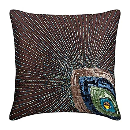 Art Deco Throw Pillows.Amazon Com Brown Cushion Covers Peacock Feather Sequins