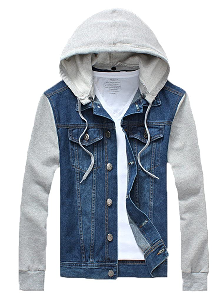 QZUnique Men's Plus Big and Tall Denim Jacket Detachable Hoody Coat SN-QT1019-T308