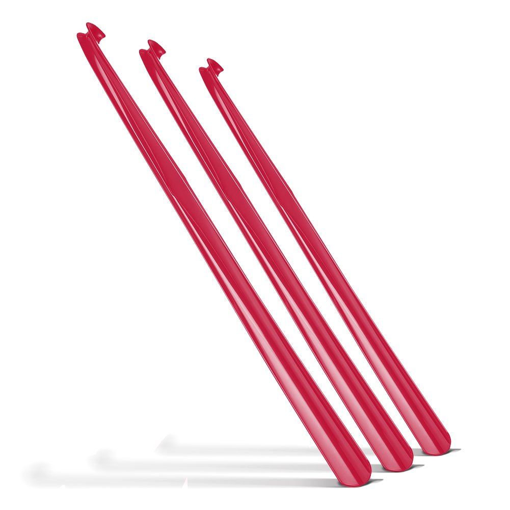 3 x 31 Inch Extra Long Handled Shoehorn (Red)