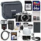 Olympus OM-D E-M10 Mark III 4K Micro 4/3 Digital Camera & 14-42mm EZ Lens (Silver) + 16GB/64GB Cards + Case + Flash + Battery & Charger + Tripod Kit