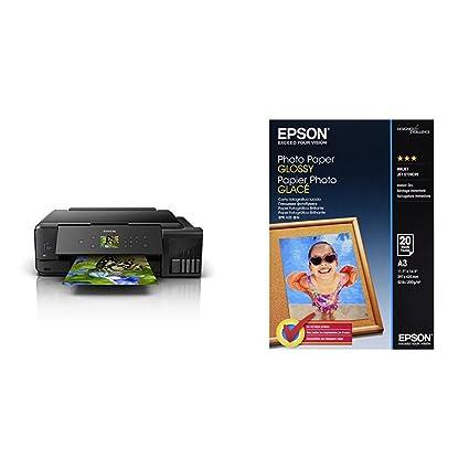 Epson EcoTank ET-7750 - Impresora, color negro + Papel fotográfico Photo Paper Glossy A3, 20 hojas