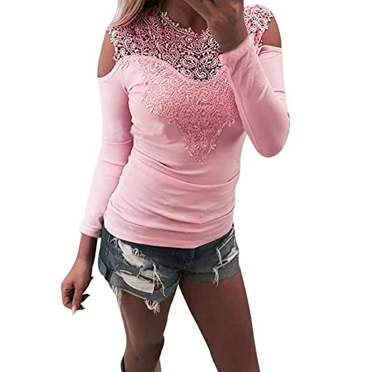 c752d8cc3ae Image Unavailable. Image not available for. Color  Kangma Women Sexy Long  Sleeve Casual Lace Elegant Patchwork Sweatshirt Pullover Blouse Pink