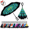 Amersin Double Layer Inverted Umbrella Cars Reverse Open Folding Umbrellas, Windproof UV Protection Large Self Stand Upside Down Straight Umbrella for Golf Women and Men with C-Shaped