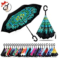 Amersin Double Layer Inverted Umbrella Cars Reverse Open Folding Umbrellas, Windproof UV Protection Large Self Stand Upside Down Straight Umbrella Golf Women Men C-Shaped