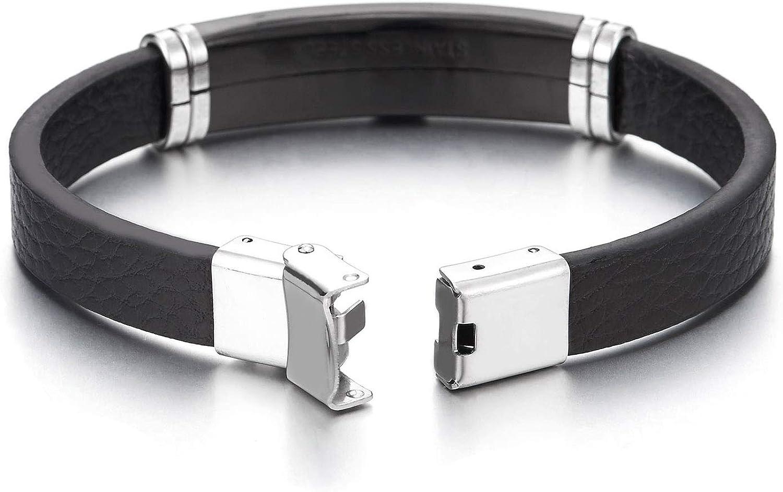 COOLSTEELANDBEYOND Men Boys Black Leather Bangle Bracelet Steel Silver Black ID Identification with Greek Key Pattern