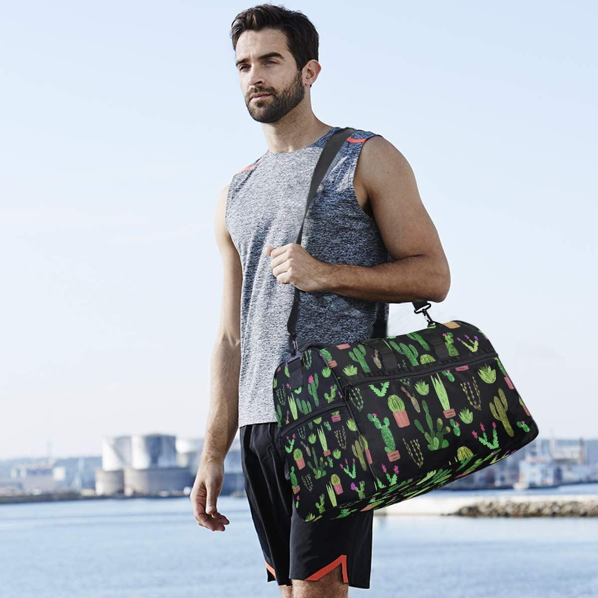 Cactus Travel Duffel Bag Luggage Sports Gym Bag With Shoes Compartment Large Capacity Lightweight Duffle Bag For Men Women