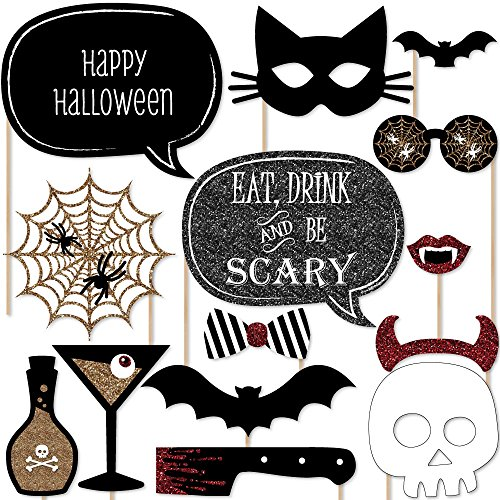 Big Dot of Happiness Spooktacular - Eat, Drink and Be Scary Halloween Party Photo Booth Props Kit - 20 Count]()