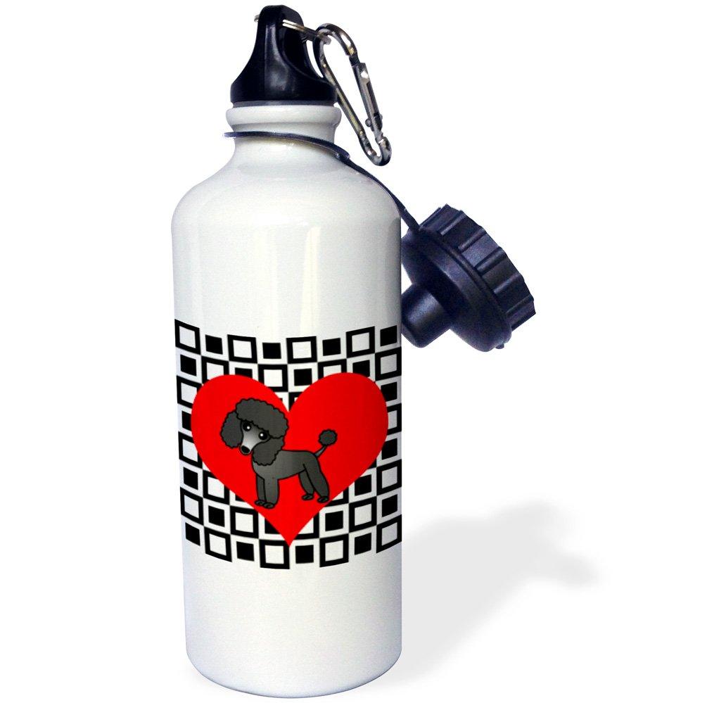 21 oz 3dRose wb/_31193/_1I Love Dogs Black Poodle Sports Water Bottle White