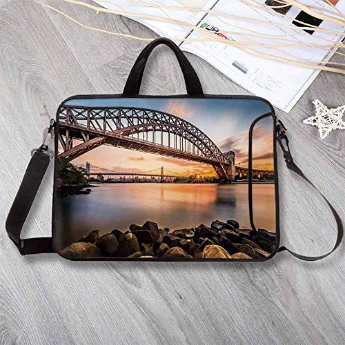 - Landscape Lightweight Neoprene Laptop Bag,Sunset Evening View Picture Hell Gate and Triboro Bridge Astoria Queens America Laptop Bag for Laptop Tablet PC,15.4