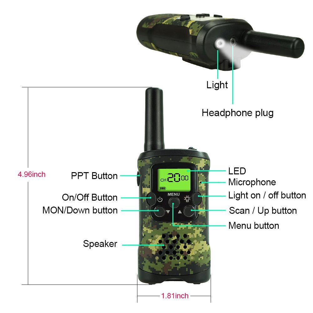 TOP Gift Outdoor Toys Walkie Talkies for Kids, Handheld Walkie Talkies for Kids Toys for 3-12 Year Old Boys Girls 2018 Christmas New for Kids Boys Girls 3-12 Green TGDJ01 by TOP Gift (Image #5)
