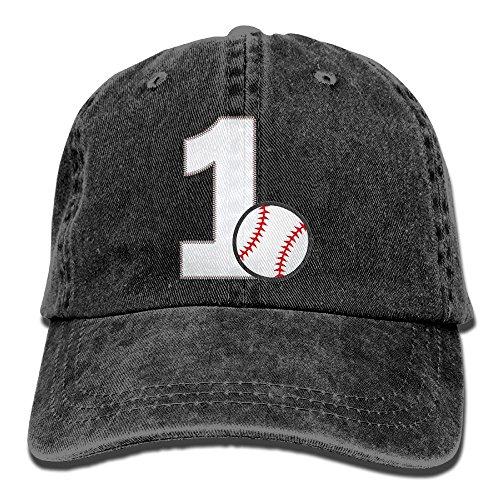 Henzhudi Baseball First Birthday Unisex Cotton Denim Baseball Cap Adjustable Strap Low Profile Plain Hats Black