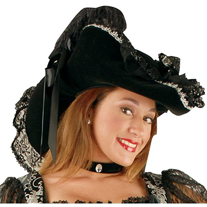 Adult Black Velvet Lady Pirate Hat with Black Lace Trim, Silver Braid Trim, and Black Satin Bow Accents by Charades