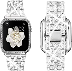 Supoix Compatible with Apple Watch Band 38mm 40mm 42mm 44mm + Case, Women Jewelry Bling Diamond Metal Strap & Soft PC Bumper Protective Case for iWatch Series 6/5/4/3/2/1(Silver)