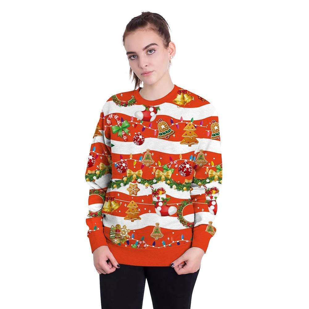 FuweiEncore Damenschuhe New Christmas Festival 3D Digital Print Paar Sweatshirts, Männer übergroßen Rundhals Pullover Tops Weihnachten Karneval Festival (Farbe   20, Größe   XL)