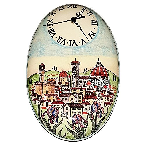 CERAMICHE D'ARTE PARRINI - Italian Ceramic Wall Clock Art Pottery Decorated Duomo Florence Painted Made in ITALY Tuscan