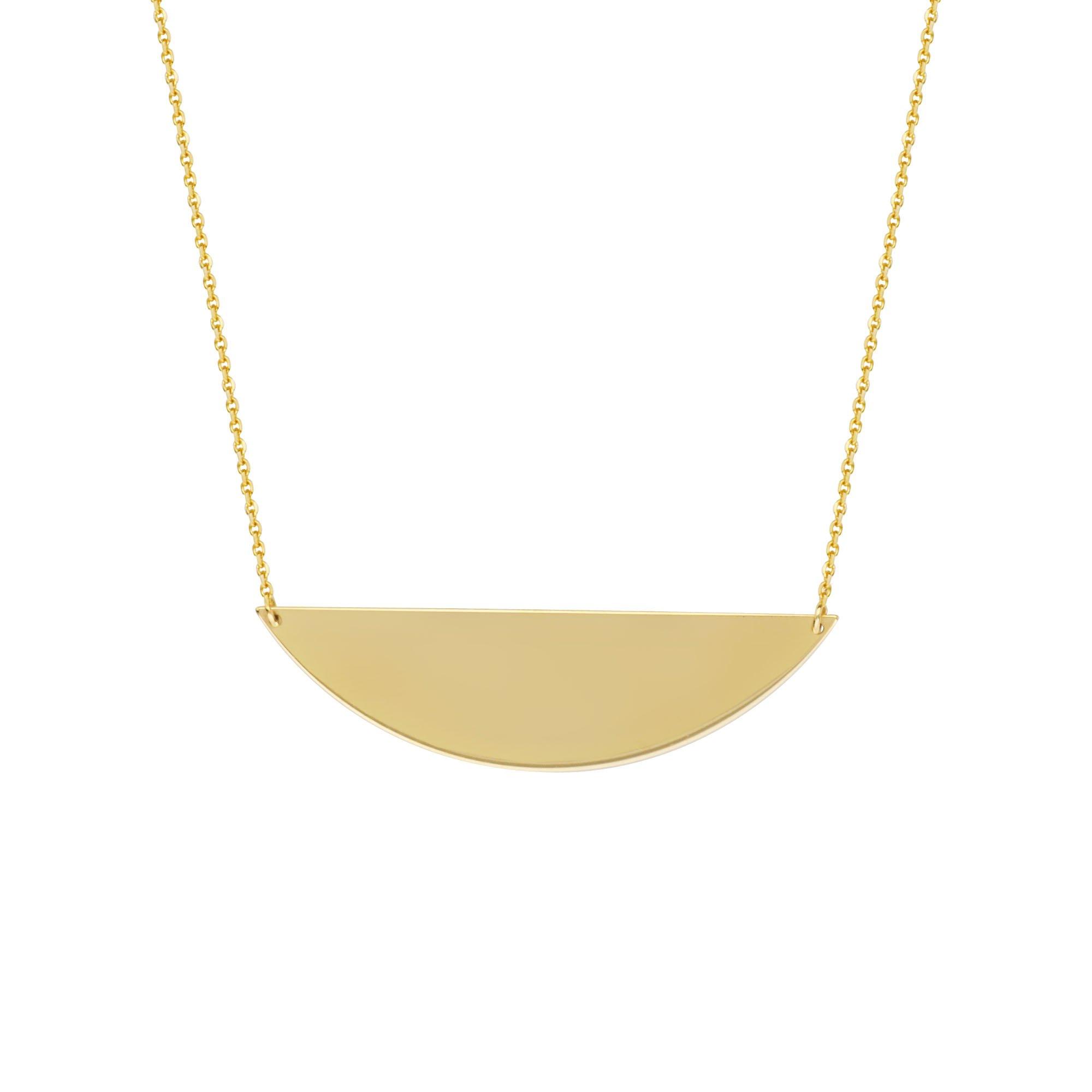 14k Yellow Gold Half Circle Necklace Adjustable Length