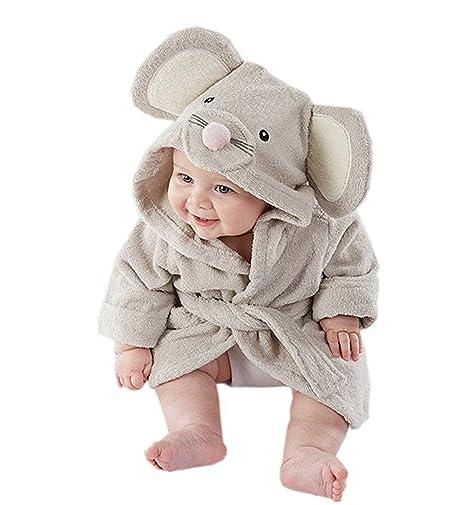 DAYAN unisex muchacho y algodón infantil del bebé animal con capucha Albornoz Playa del baño de