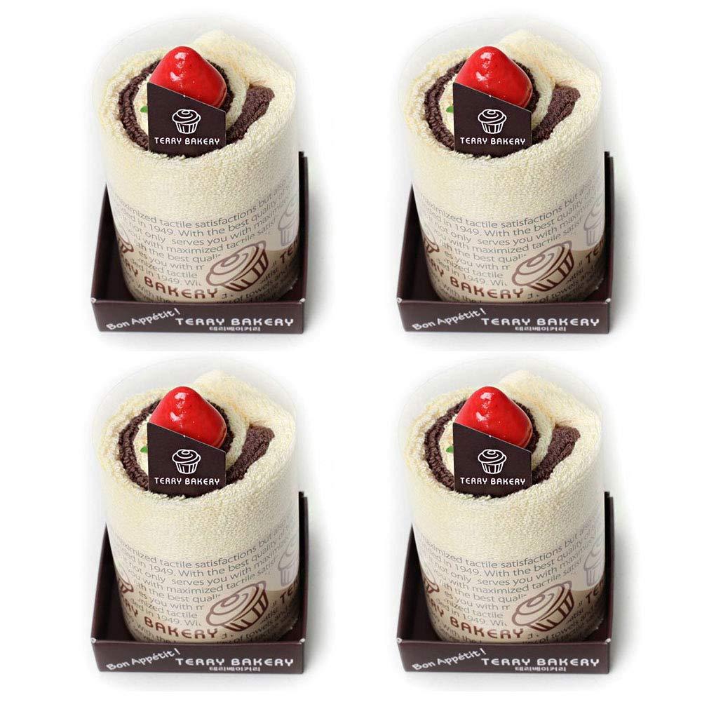 Brown, 2 Songwol Towel Mousse Cake Shape Cotton Washcloths Cakes Wedding Favors