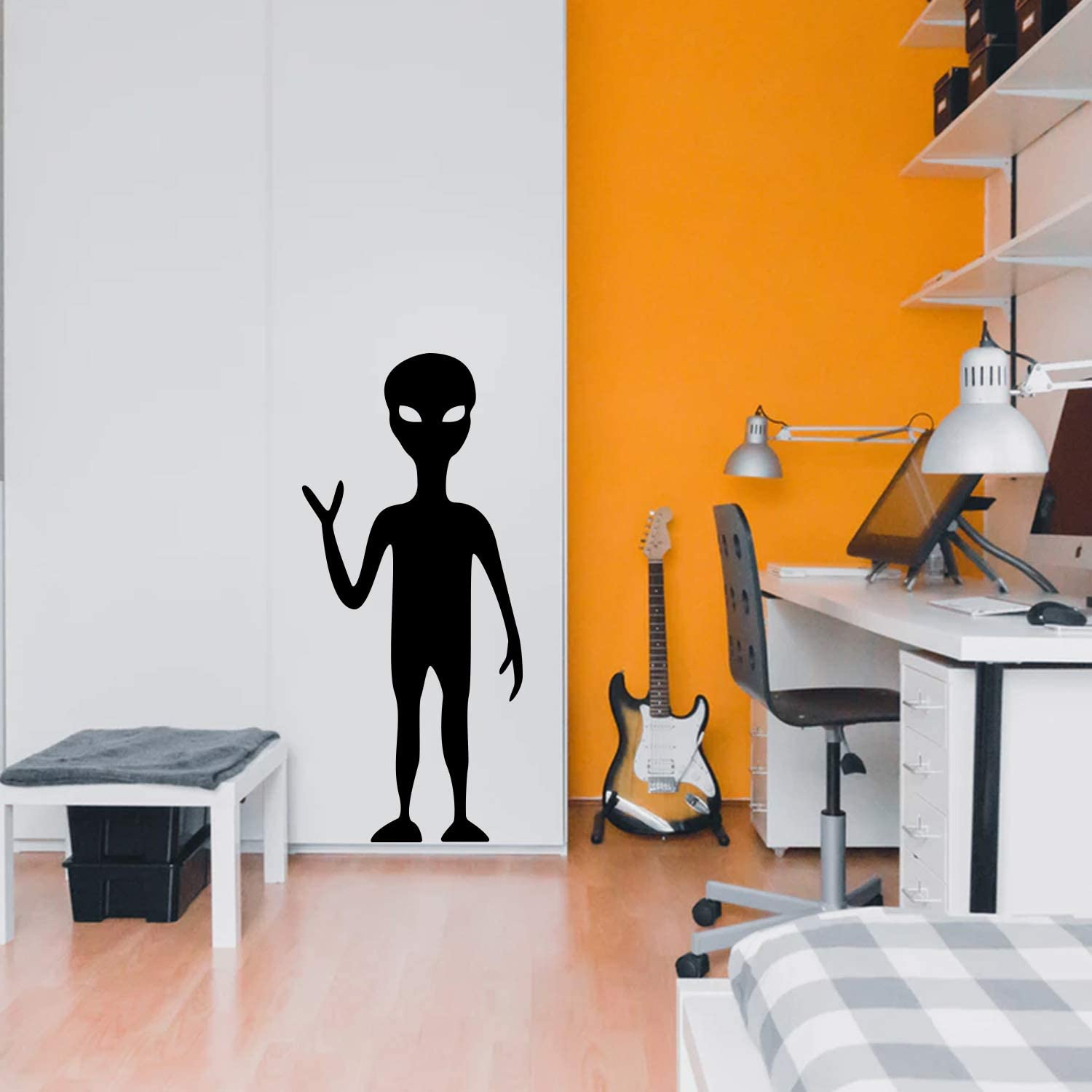 """Vinyl Wall Art Decal - Tall Alien - 48"""" x 22"""" - Modern Cool Decor for Home Bedroom Playroom Wall Door - Unisex Trendy Sci Fi Outer Space UFO Apartment Living Room Decor (48"""" x 22"""", Black)"""