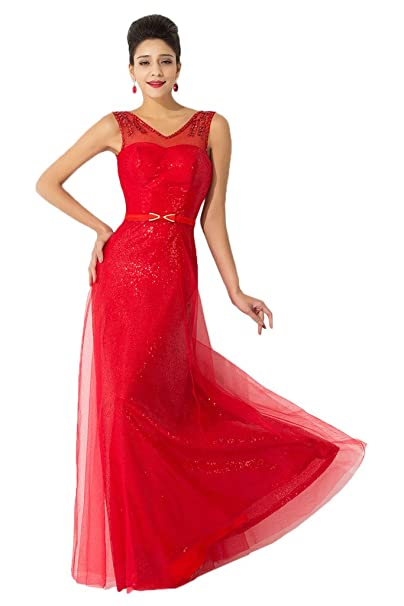 Sunvary - Vestido de novia - trapecio - Mujer Rojo rojo