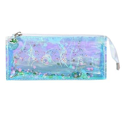 Momola - Estuche de lápices de colores transparentes para cosméticos, bolsa de maquillaje, caja