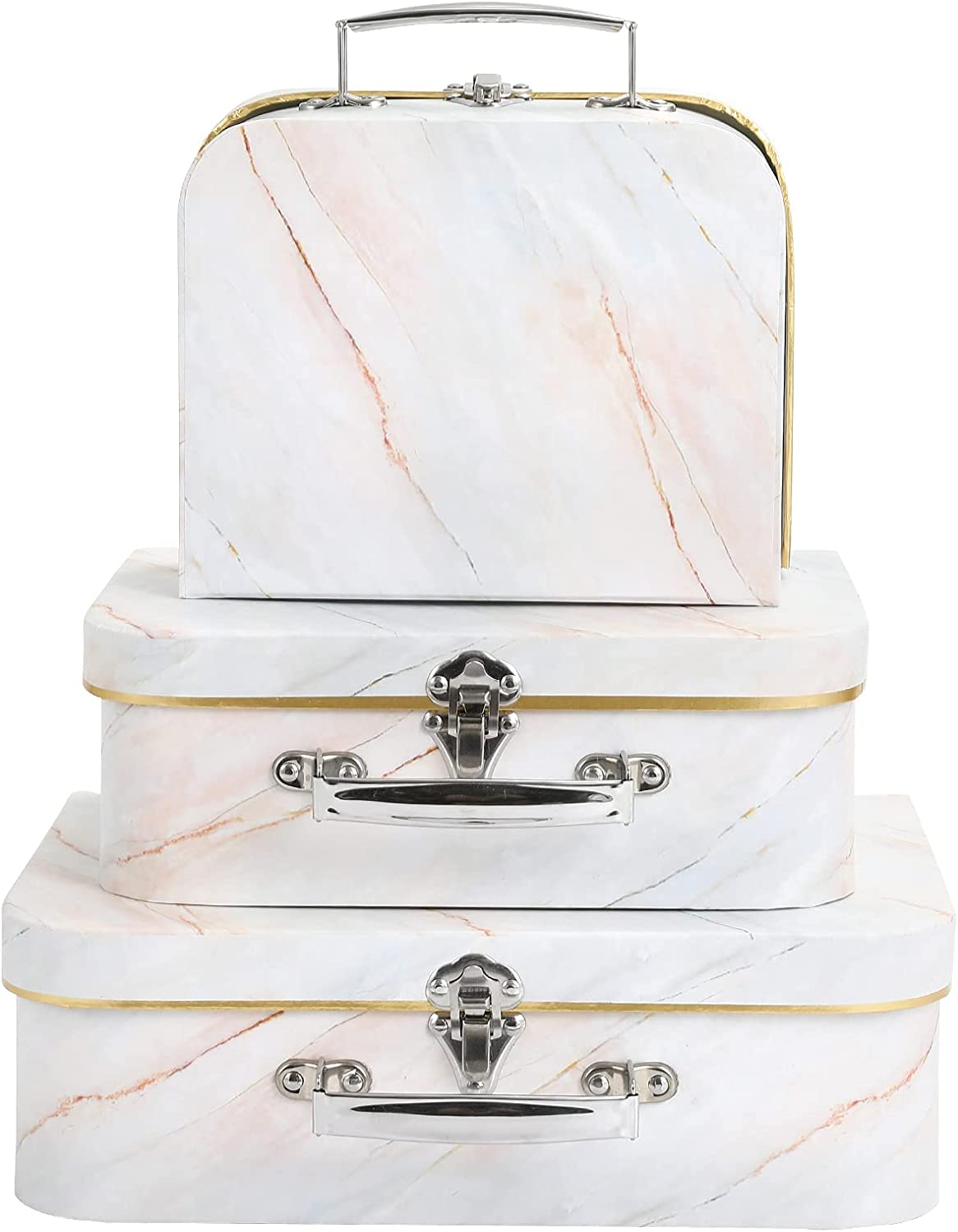 Anndason Set of 3 Paperboard Suitcases Storage Box Decorative Storage Boxes Storage Gift Boxes With Lids for Photo Storage Home Decoration, Wedding, Birthday, Anniversary and New Year Gift Decoration (3Pcs, Champagne Marble)