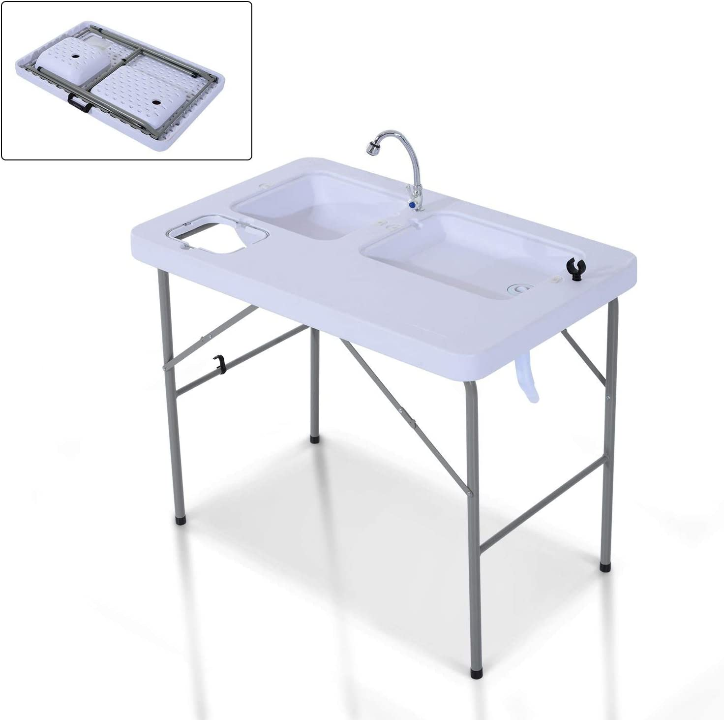 White /& Grey Kitchen Godyluck Portable Folding Camping Table with Faucet in HDPE and Steel//Weight Capacity 132 LBS