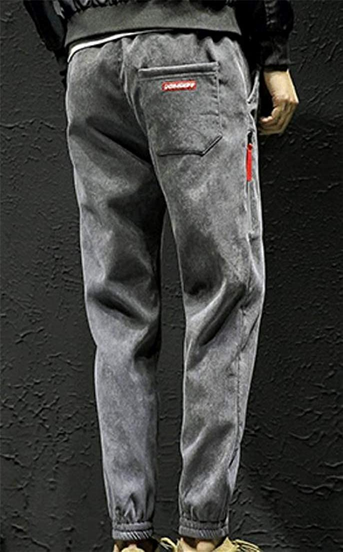 XiaoTianXinMen XTX Mens Fleece Mid Waist Leisure Joggers Trousers Corduroy Pants