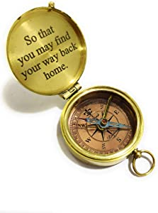 """NauticalMart Brass Compass Engraved with """"So You Can Always Find Your Way Back Home"""", Gift Compass"""