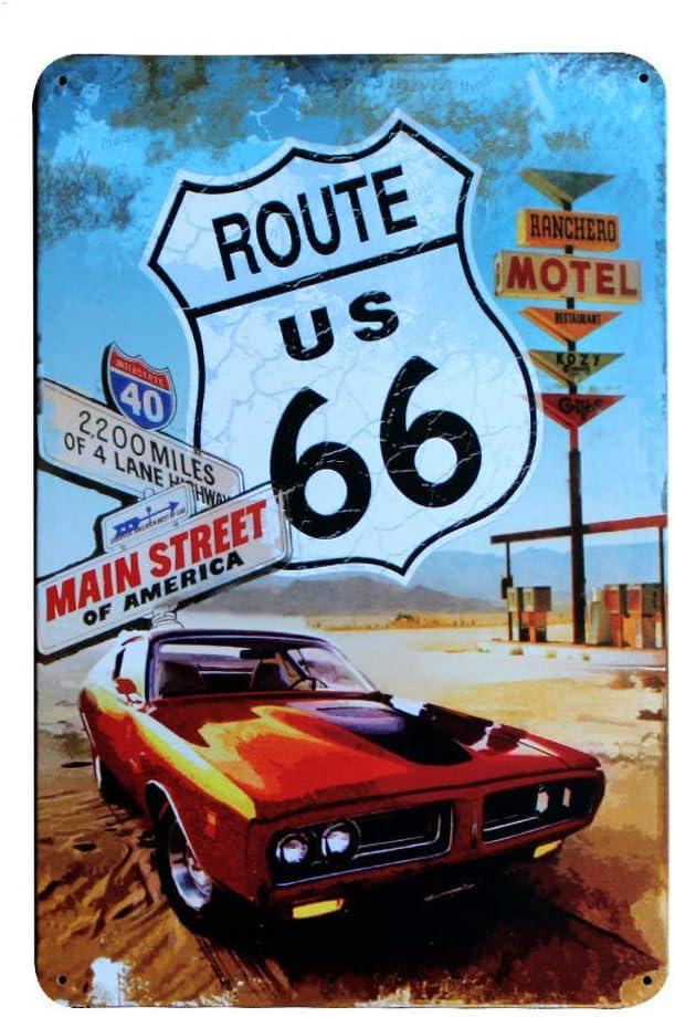 JOHUA Cartel de metal de la cerveza de la Ruta 66, cartel de advertencia de metal vintage para garaje, casa, cafetería, oficina, decoración de pared