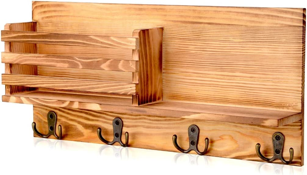 corridor AXABING Mail Sorter Wall Mount Wood Key Holder Organizer Wall,Wooden Organizer with 4 Double Hooks,Suitable for home kitchen Decoration and Storage office