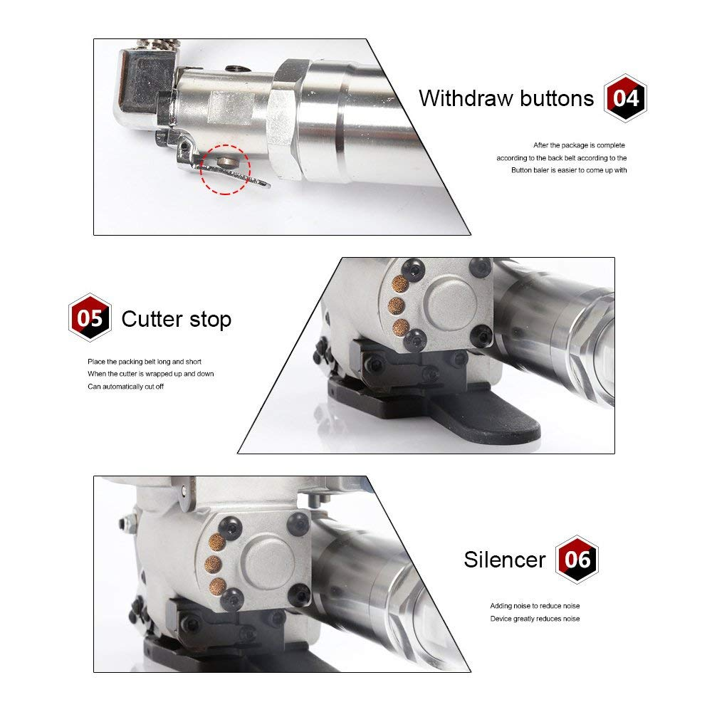 13~19mm HUKOER Pneumatic Strapping Tool Handheld Package Packing Machine for PP and PET Portable Strapping Machine 1//2Inch to 3//4Inch