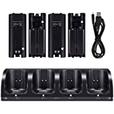 Charging Station for Wii Remote, LayOPO Wii Charging Dock Station with 4 Charging Ports and 4 Rechargeable Batteries Pack, Automatically Cuts Off Power After Fully Charged