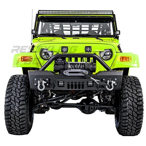 Restyling Factory 97-06 Jeep Wrangler TJ Rock Crawler Black Textured Front Bumper with Winch Mount Plate, Built in 2x Square LED Light Mount and 2x D-rings -