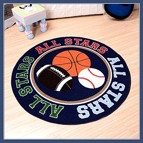 Hiltow All Stars Rug Non-Slip Backing Kids Rug Round Fun Sport Rugs Childrens Rug Print with Basketball, Rugby, Tennis Ball for Bedroom(39.5