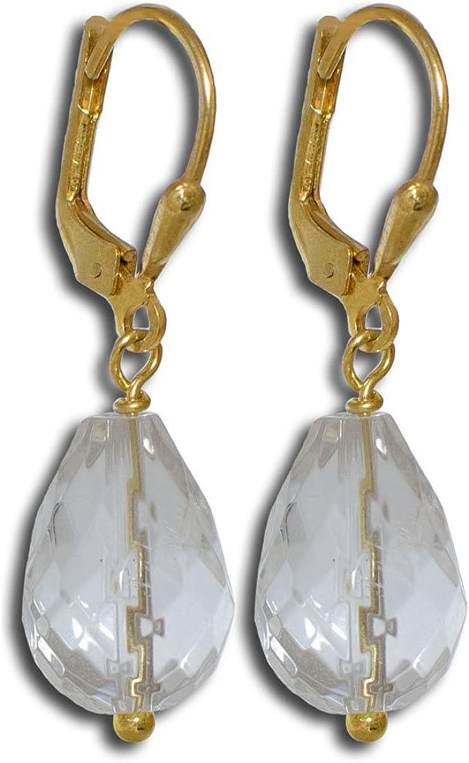 I de Be, cristal de roca piedras preciosas pendientes, 925plata dorado, longitud 3,4cm, en estuche de regalo, 382407sg