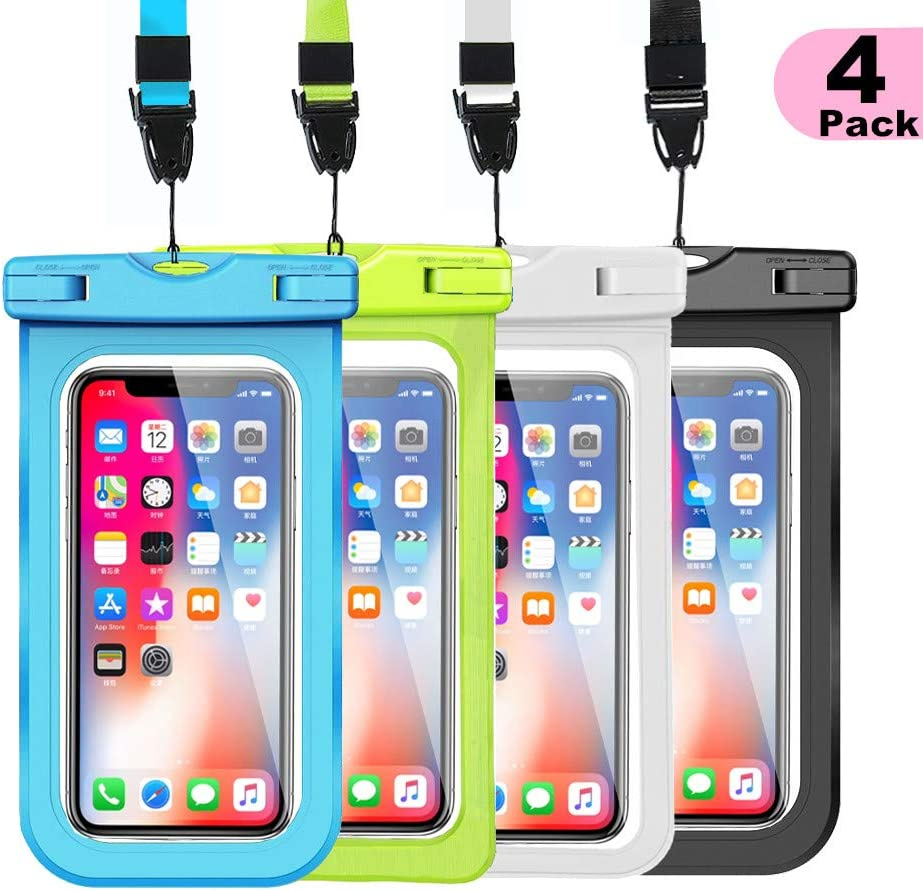 """WJZXTEK Universal Waterproof Case, Waterproof Phone Pouch for iPhone 11 Pro Max XS Max XR X 8 7 6S Plus Samsung Galaxy s10/s9 Google Pixel 2 HTC Up to 7.0"""",IPX8 Cellphone Dry Bag -4 Pack"""
