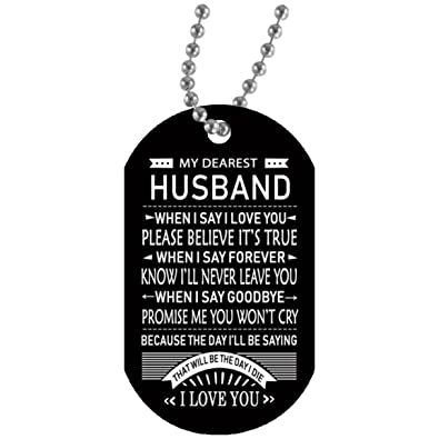 Amazon My Dearest Husband Dog Tag Necklace Customize To My