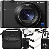 Sony Cyber-shot DSC-RX100 V Digital Camera 64GB Bundle 11PC Accessory Kit - Includes 64GB Memory Card + 2 Replacement NP-BX1 Batteries + AC/DC Rapid Home & Travel Charger + MORE