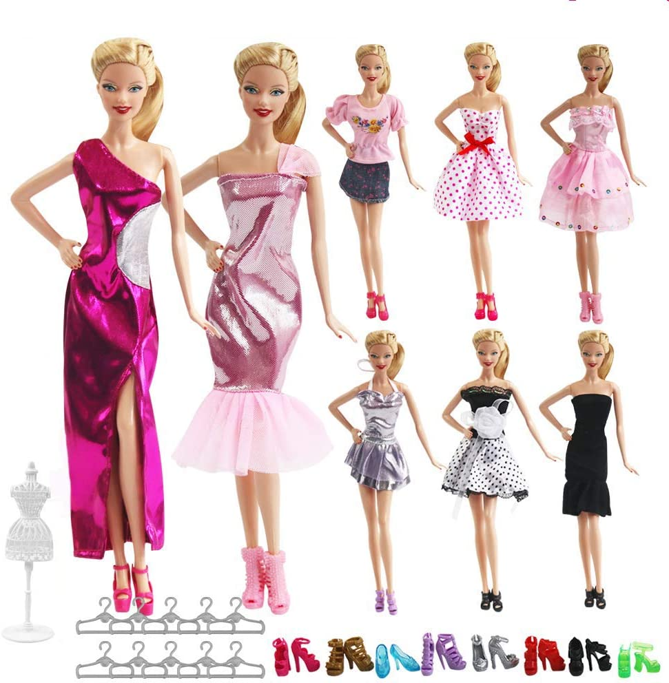 UCanaanA Lot 27 Items Doll Clothes & Accessories for Barbie Doll 8 Sets Fashion Casual Wear Clothes Outfit Handmade Party Dress with 8 Pair Shoes 10 Hangers for 11.5 Inch Girl Doll Birthday Xmas GIF