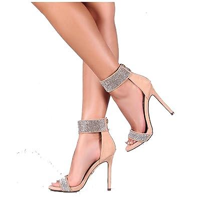 222896dda74 Liliana Hozzo-7 Nude Suede Rhinestone Encrusted Ankle Strap Open Toe  Stilettos (9)
