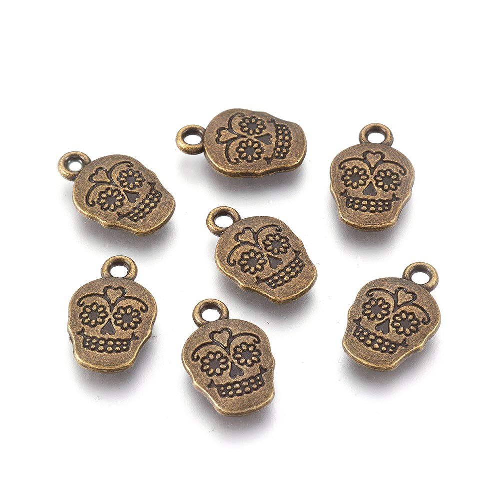 Craftdady 20pcs Tibetan Antique Silver Alloy Dead Sugar Skull Halloween Pendants 18x12mm Lead Free /& Cadmium Free /& Nickel Free for DIY Jewelry Craft Making