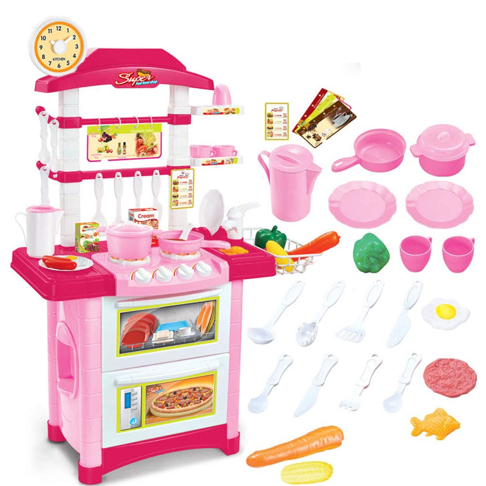 Vibola Play Kitchen,Kitchen Playset with Realistic Lights / Sounds,Drain Rack,Mini Oven Lockers Children's Simulation Kitchen Utensils and Cooking Tableware [Ship from USA Directly]