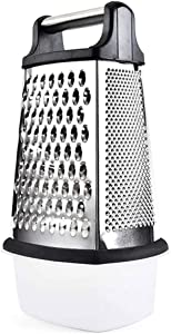 RAXMIN 4-Sided Stainless Steel Box Grater with Storage Container, 10 inch