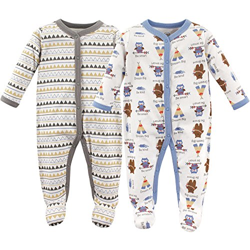 Luvable Friends Baby Cotton Snap Sleep and Play, Beige Brave Pack, 0-3 Months
